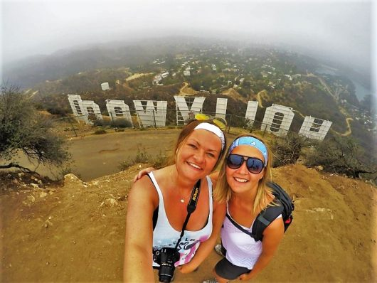 Selfie behind the Hollywood sign, hiking, Los Angeles, California