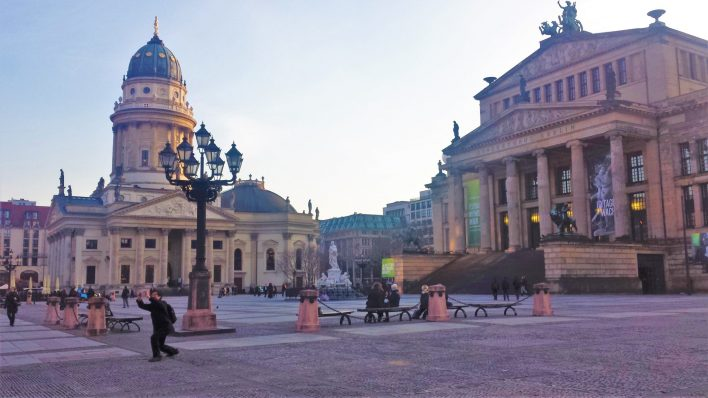 Franzosischer Dom and theater at Gendarmenmarkt, Berlin, Germany