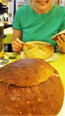 Garlic bread bowls, food of Bratislava, Slovakia