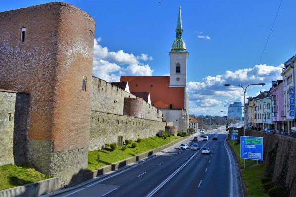 Highway by St Martin's Cathedral, Bratislava, Slovakia
