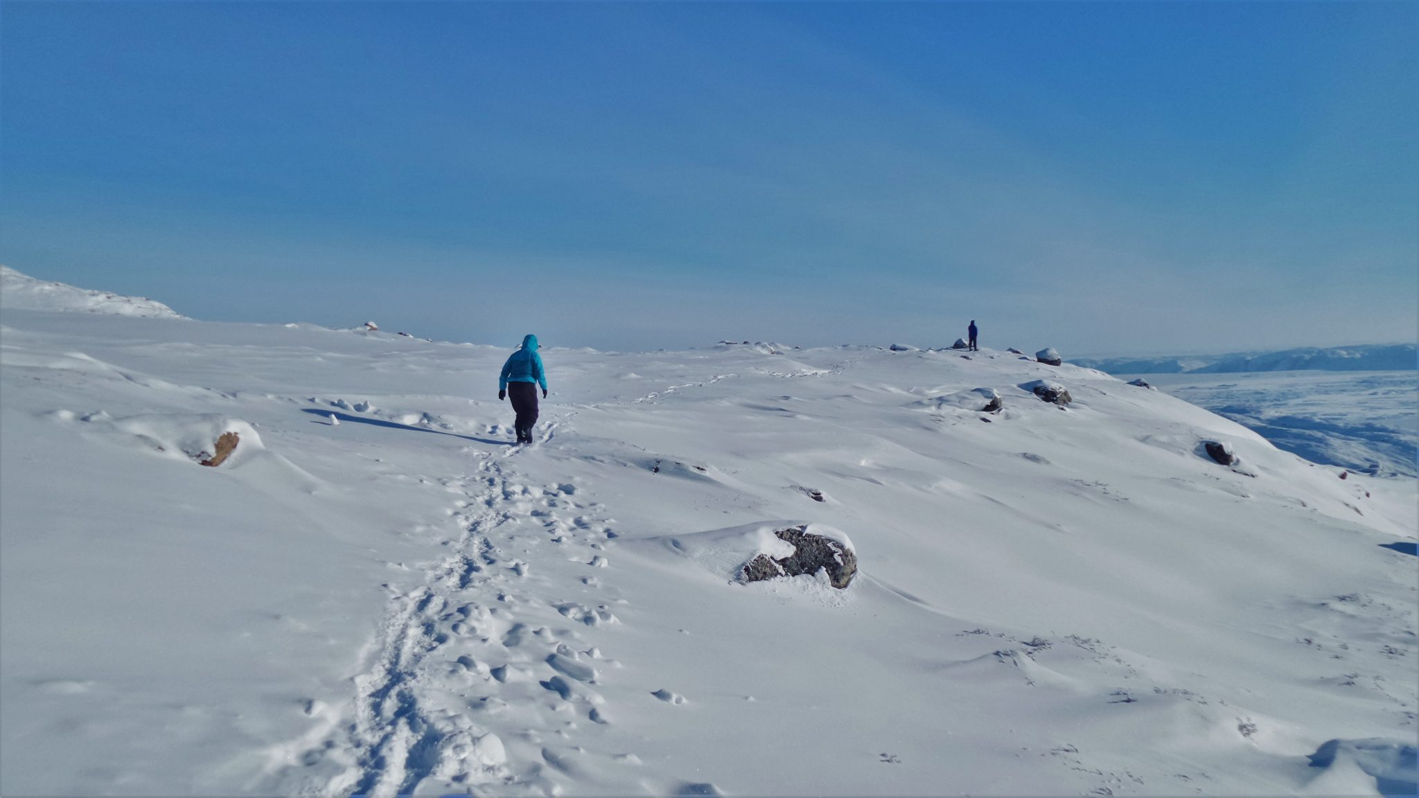 Hiking to a view point in Greenland