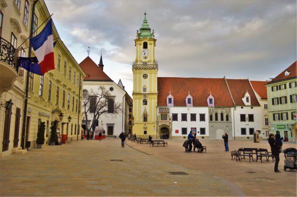 Hlavné námestie -the Main Square, Bratislava, Slovakia.
