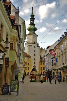 Michael's gate and the streets of Bratislava city, Slovakia