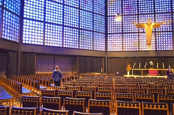 Inside the chapel at Kaiser Wilhelm Memorial Church, Berlin, Germany