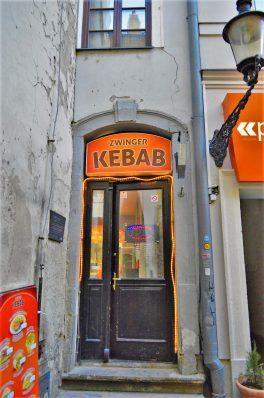 Narrowest smallest kebab shop in Europe, Bratislava, Slovakia