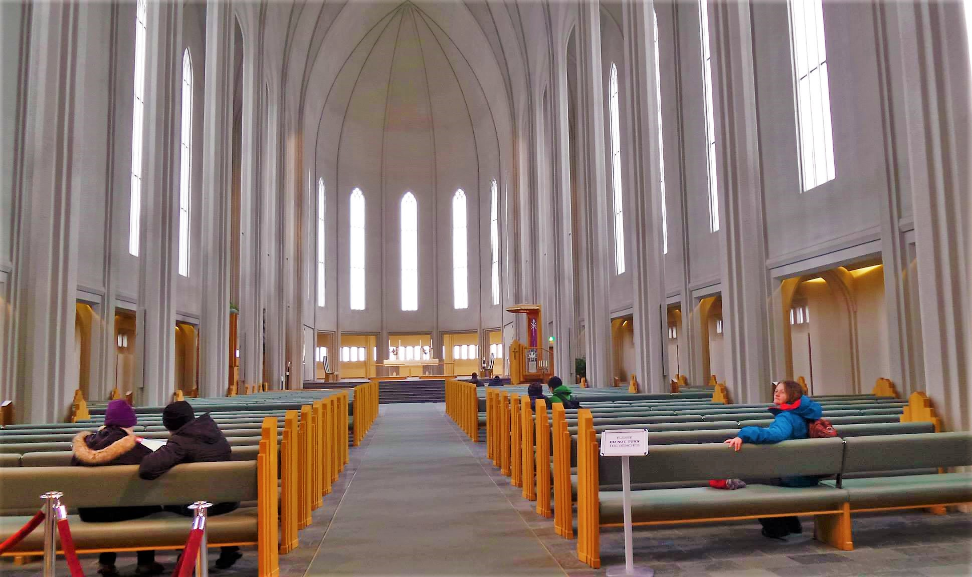 Inside the Hallgrimskirkja Church in Reykjavik, Iceland