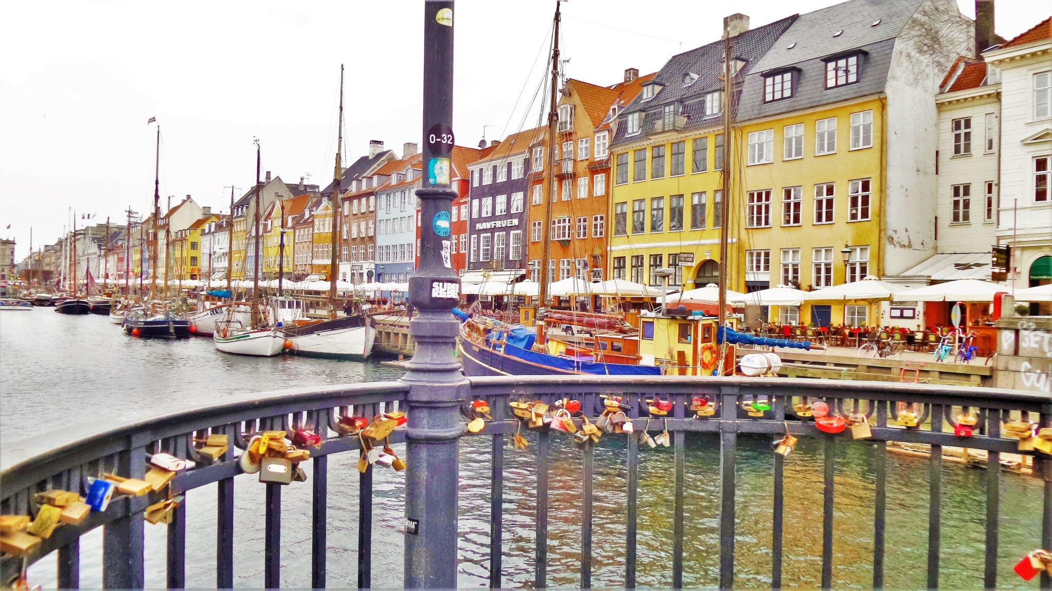 Nyhavn love lock bridge, Copenhagen, Denmark