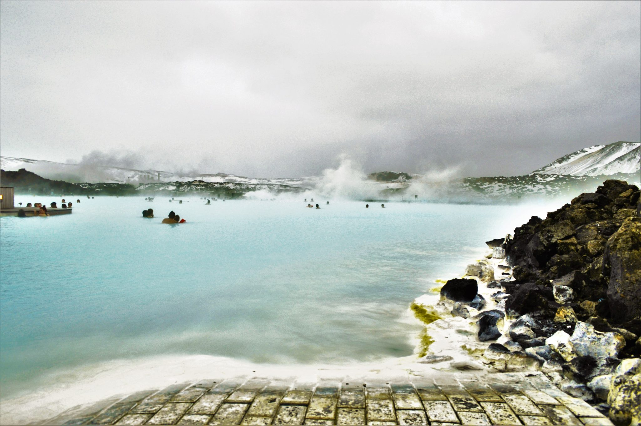 Side view of the Blue Lagoon, Iceland, Europe