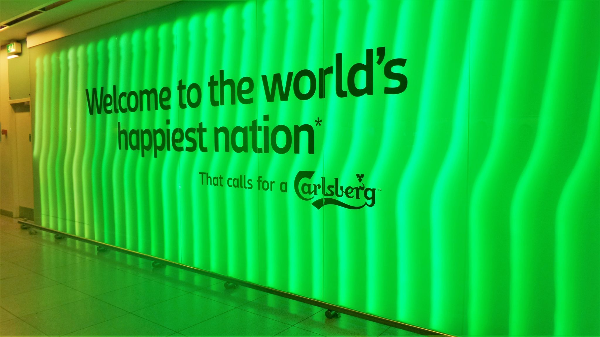 World's happiest nation sign, Copenhagen airport, Denmark