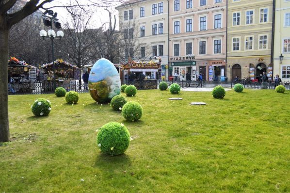Easter eggs in Old Town Square, Prague, Czech Republic