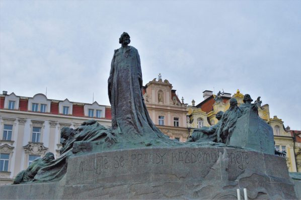 Statue of Jan Hus, Prague, Czech Republic.