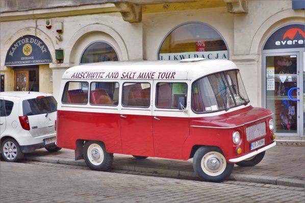 Auschwitz and Salt Mine tour bus, Krakow, Poland, Europe