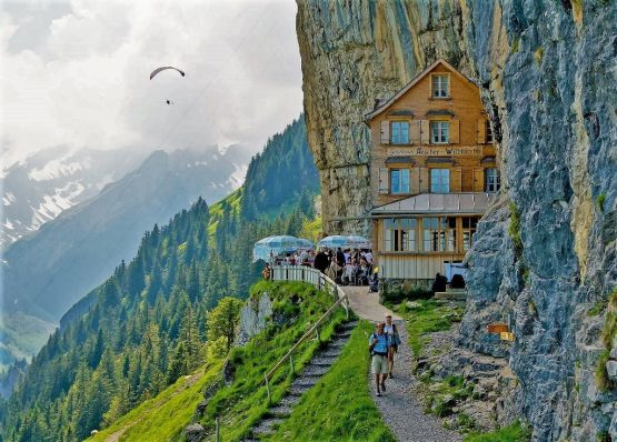 Berggasthaus Aescher cliff Hotel, Switzerland, Europe