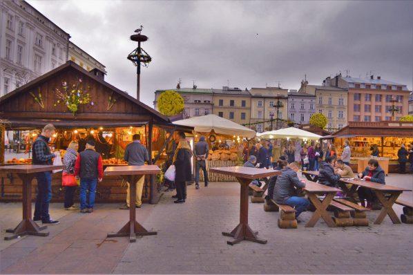 Krakow's busy Easter Market, Poland, Europe