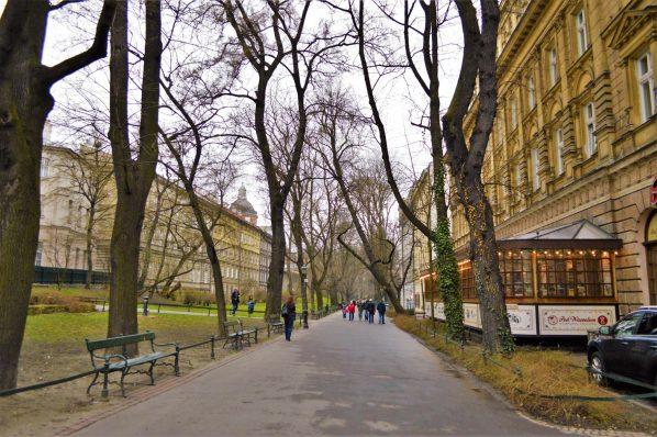 Park area by Wawel Castle, Krakow, Poland