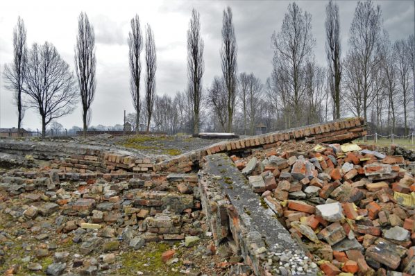 Rubble of a demolished gas chamber, Auschwitz and Birkenau, Poland, Europe