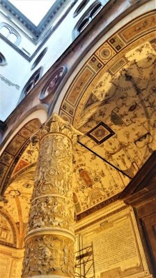 Art work columns at the Palazzo Vecchio, Florence, Italy
