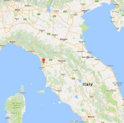 Map of Pisa in Italy