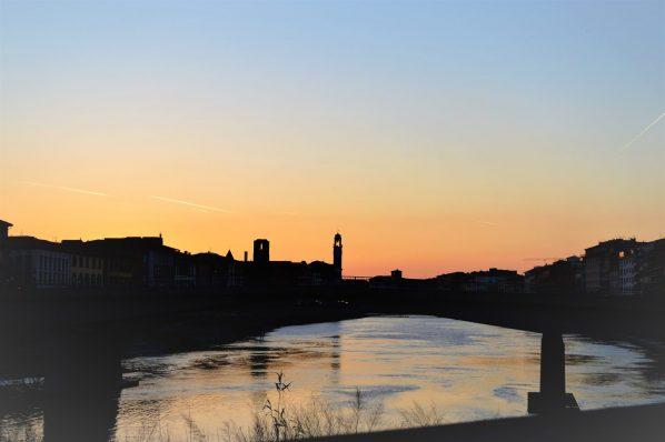 Sunset over Pisa, Italy, European sunset
