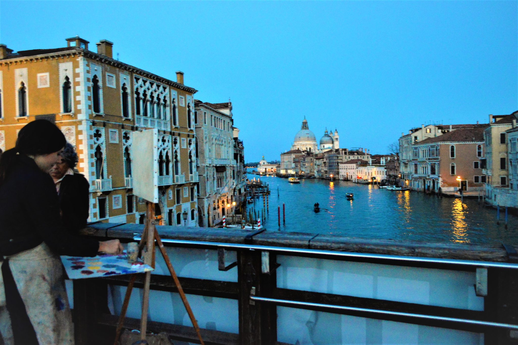 Artist on Academia Bridge, Venice, Italy