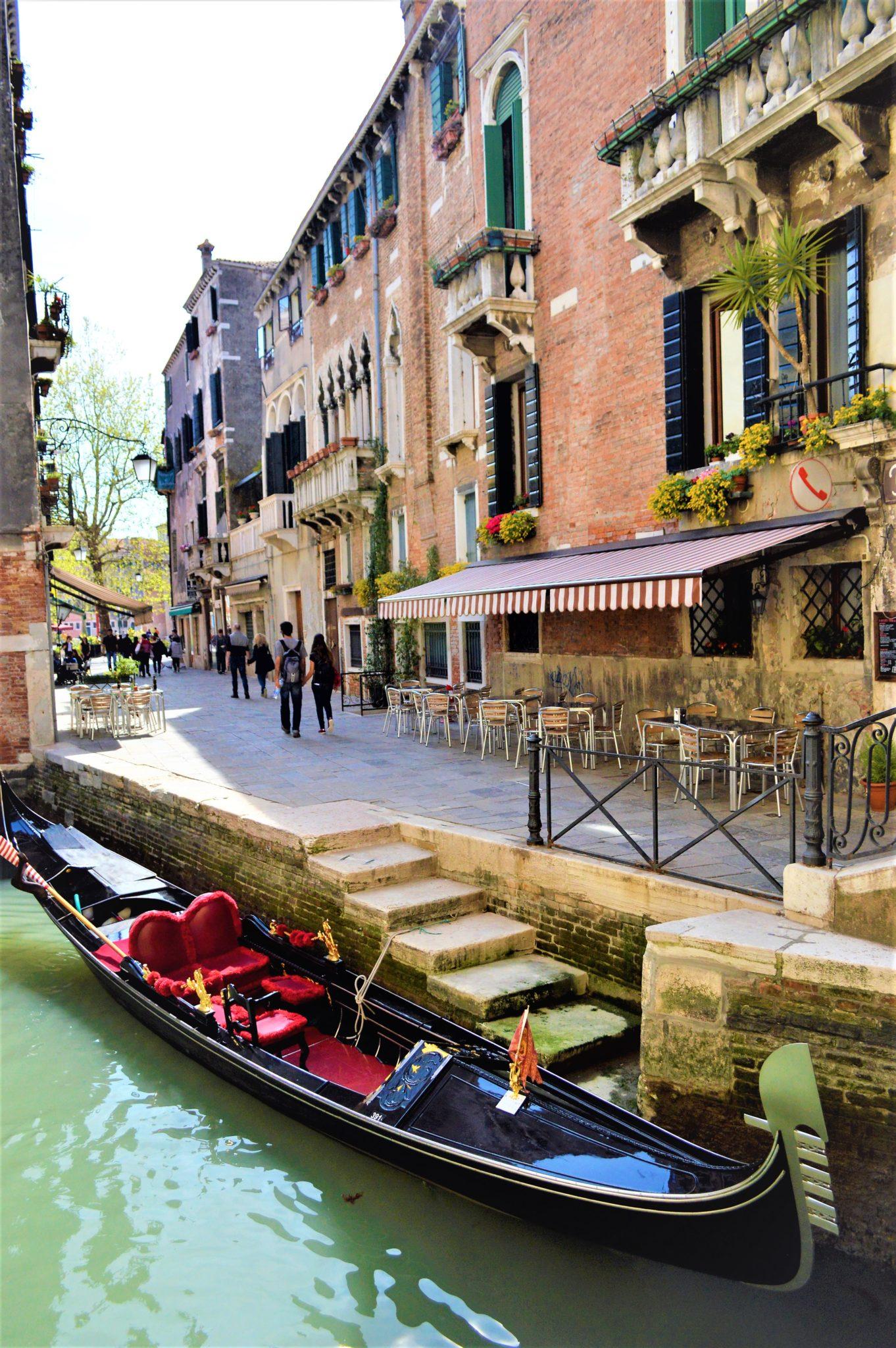 Empty gondola, Venice, Italy