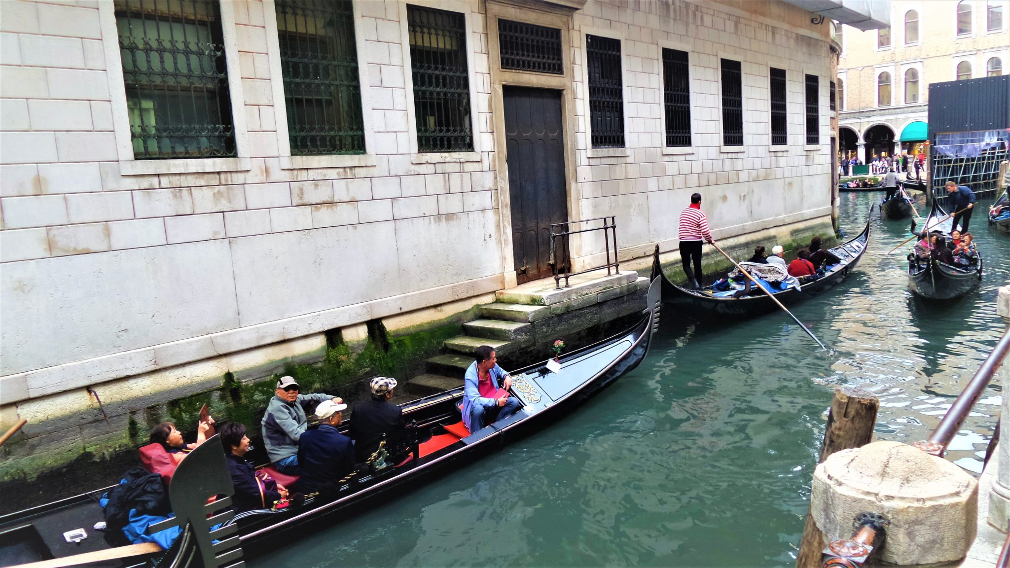 Gondola traffic in Venice, Italy