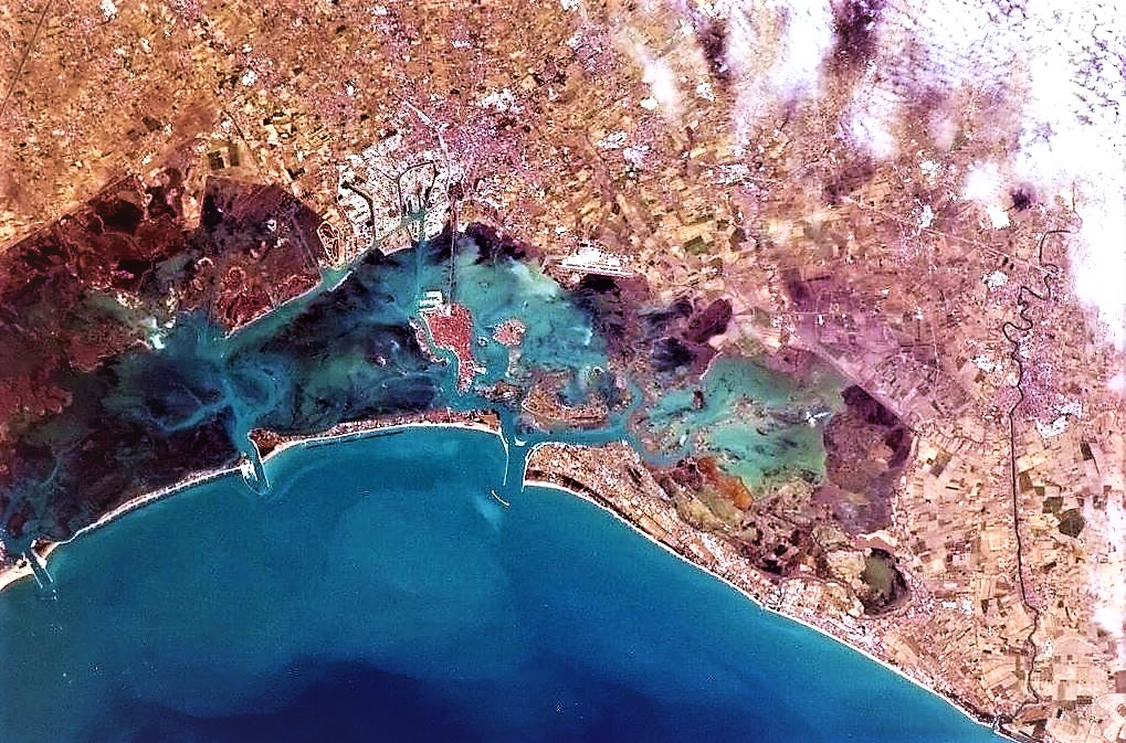 Red roofs from space, NASA, Venice, Italy