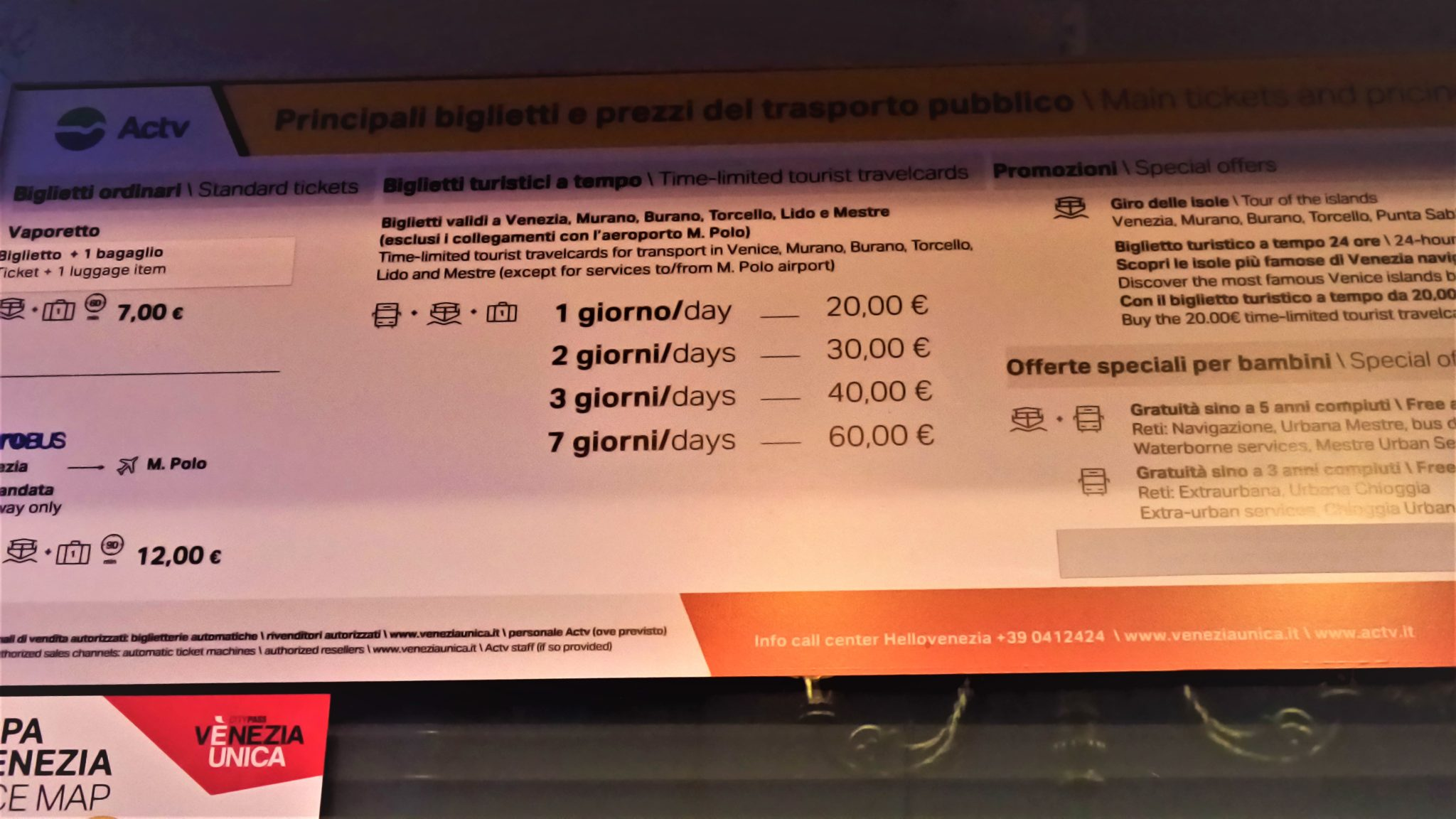 Vaporetto pass prices, Venice, Italy